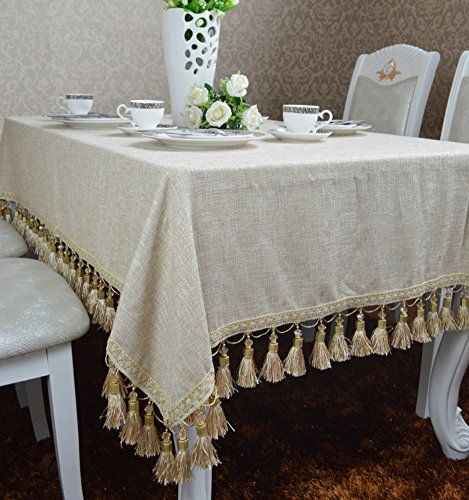 Simple Modern Beige Cotton And Linen Blended Fringed Round Table Cloth Coffee Table Cover A 120x160cm 47x63i