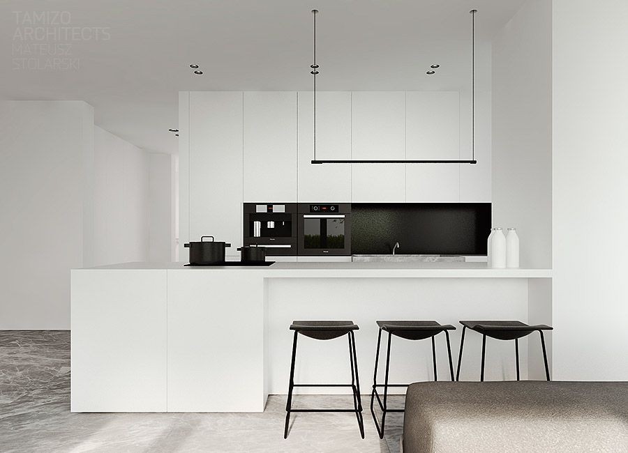 Black And White Interiors Are Impossible To Ignore They Re Bold Versatile And Perhaps Most Imp White Kitchen Design Black White Kitchen Kitchen Inspirations