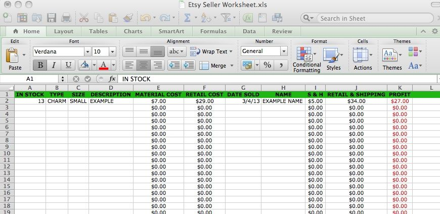 Etsy Sales Spreadsheet Seller Tools Craft Business Small