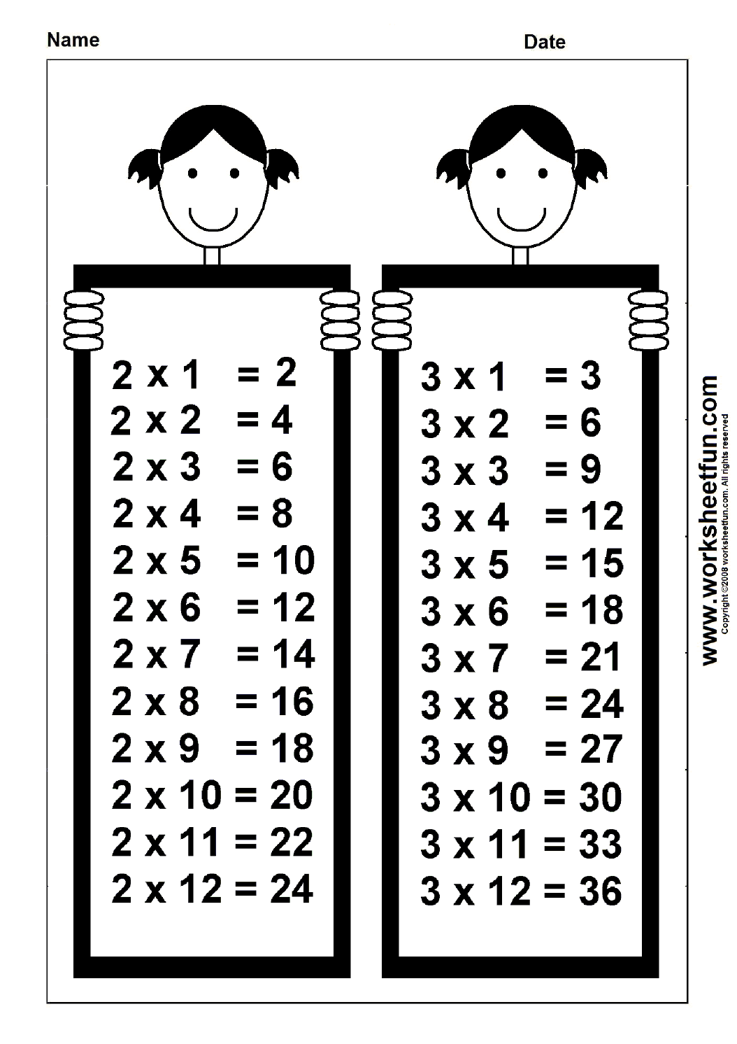 Chart 2 And 3 Times Table