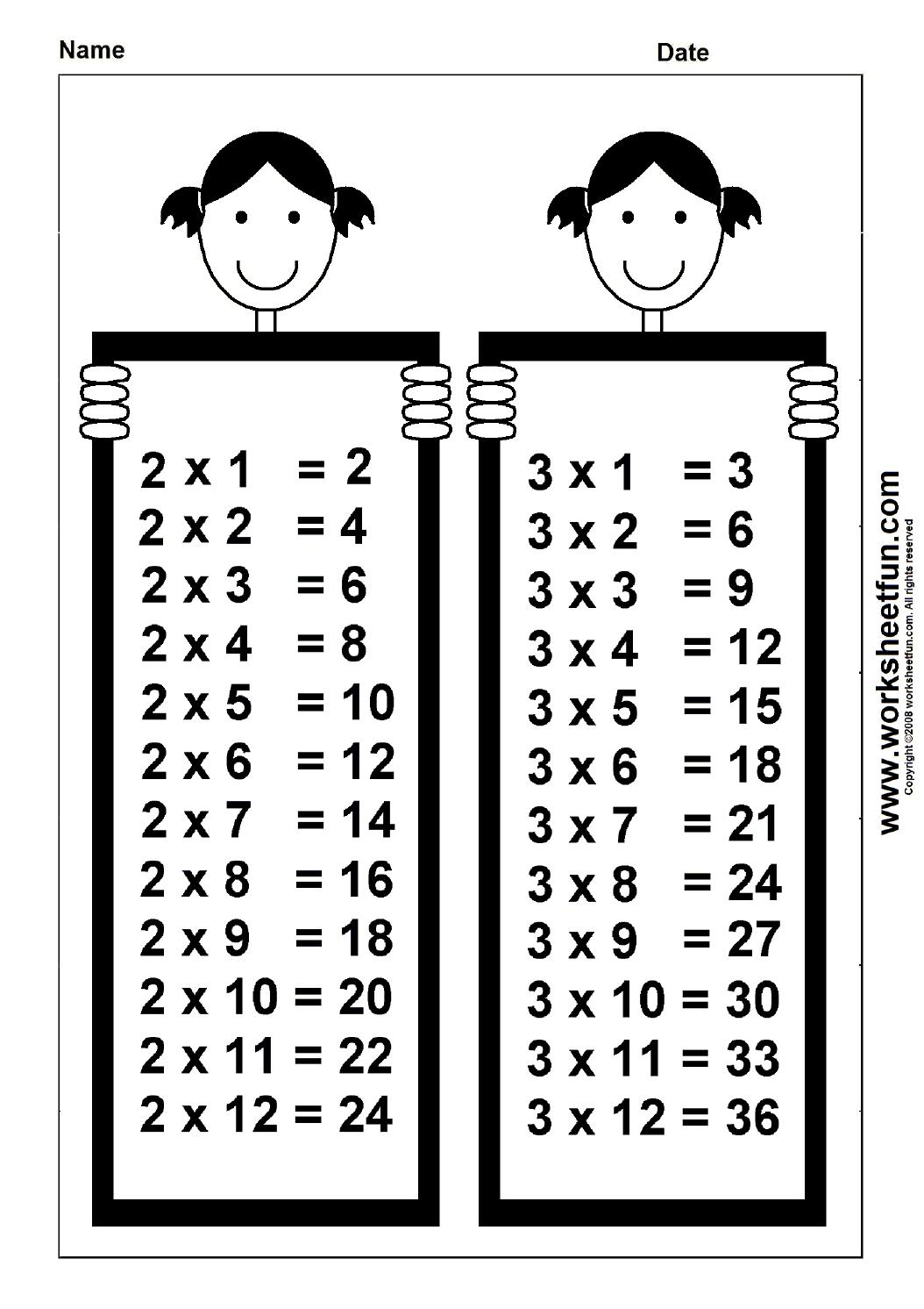 Times Table Chart – 2 \u0026 3   Free printable worksheets [ 1492 x 1054 Pixel ]