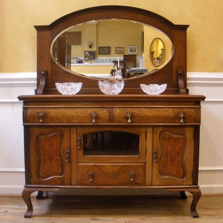Antique English Walnut Art Nouveau Mirror Back Sideboard