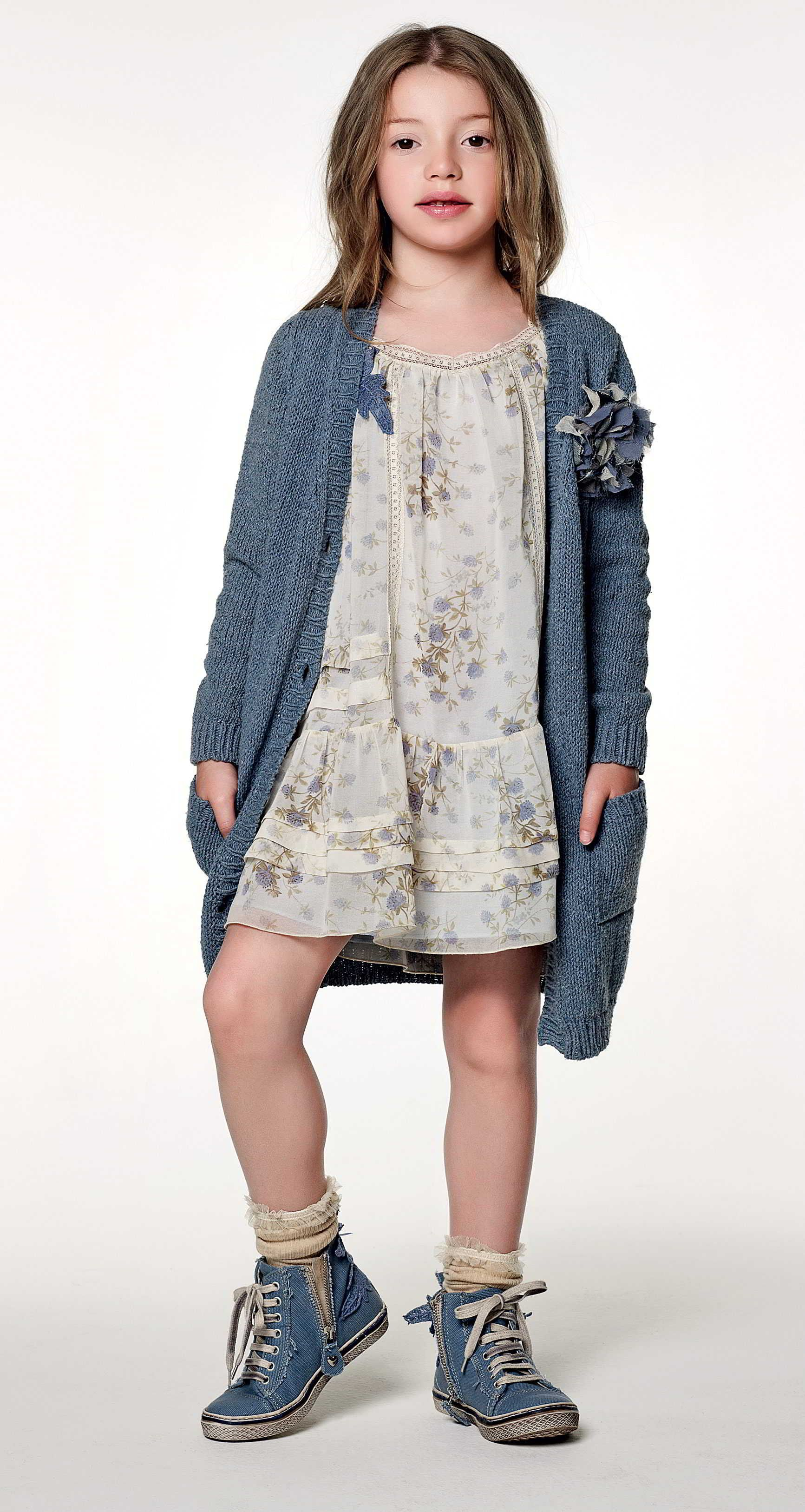 TWIN-SET Girl collection: Knitted long cardigan, dress with floral ...
