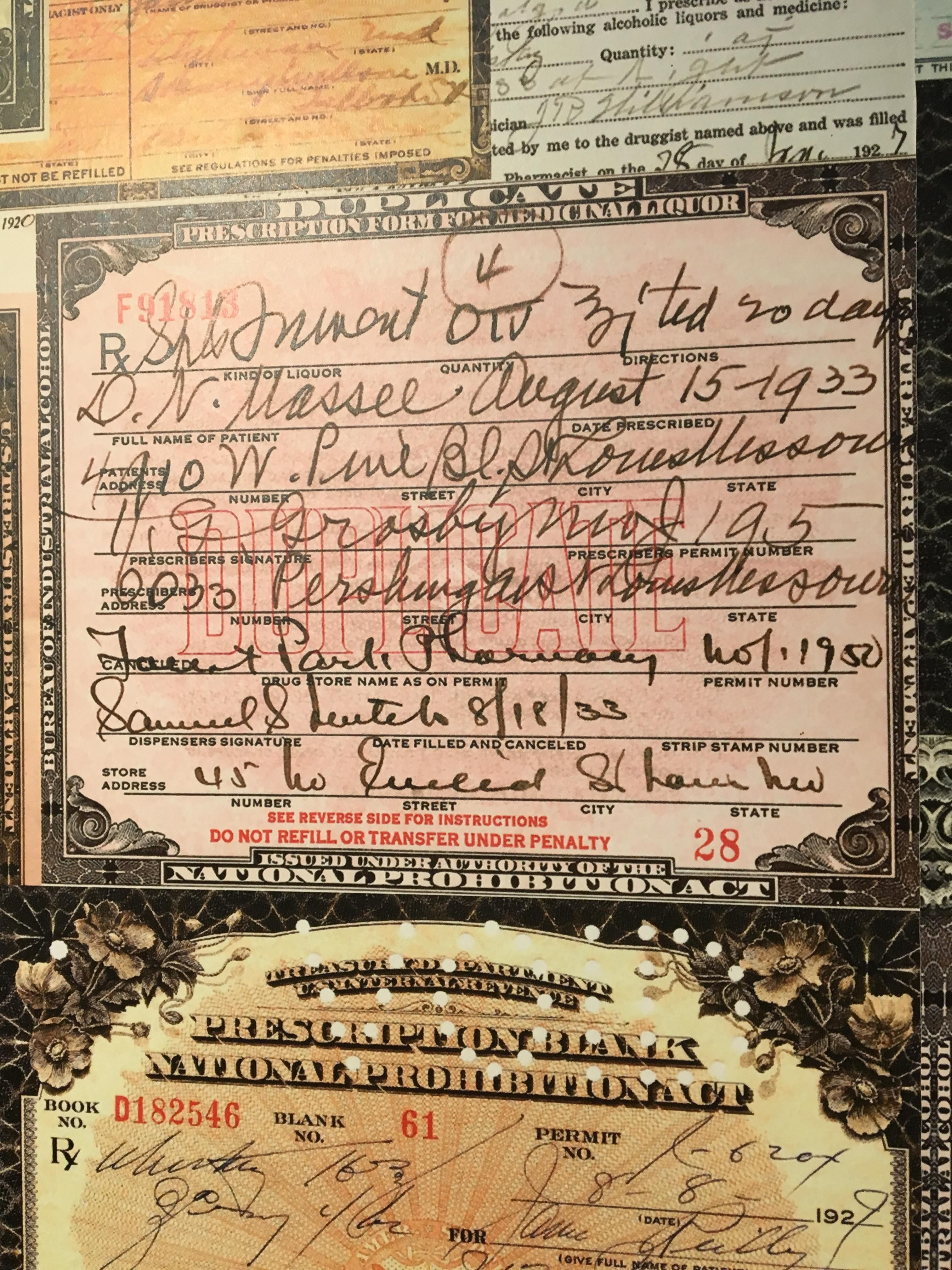 Prohibition era prescription for alcohol pets funny pinterest