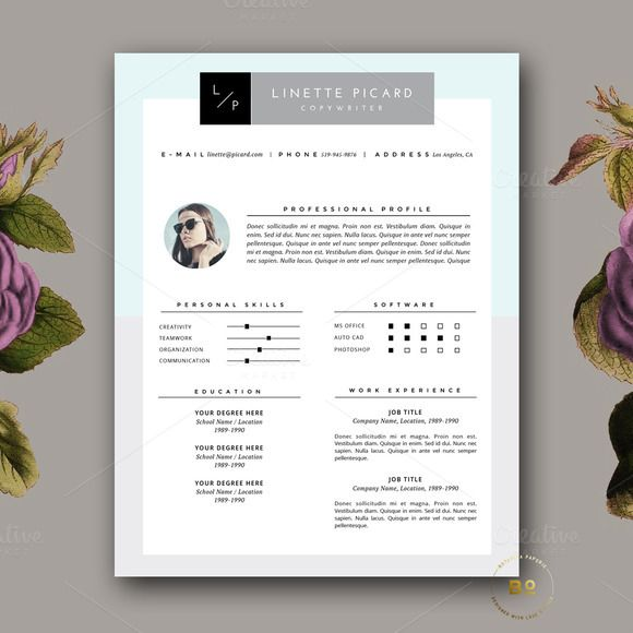 Clean Resume Design  Cover Letter By Botanica Paperie On