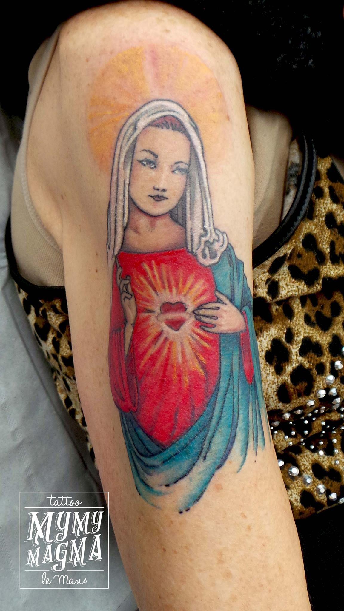 Tatouage Vierge Coloree Mymymagma Tattoo Tatouagelemans Tattoo