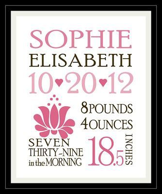 free download to print and frame your own birth announcement