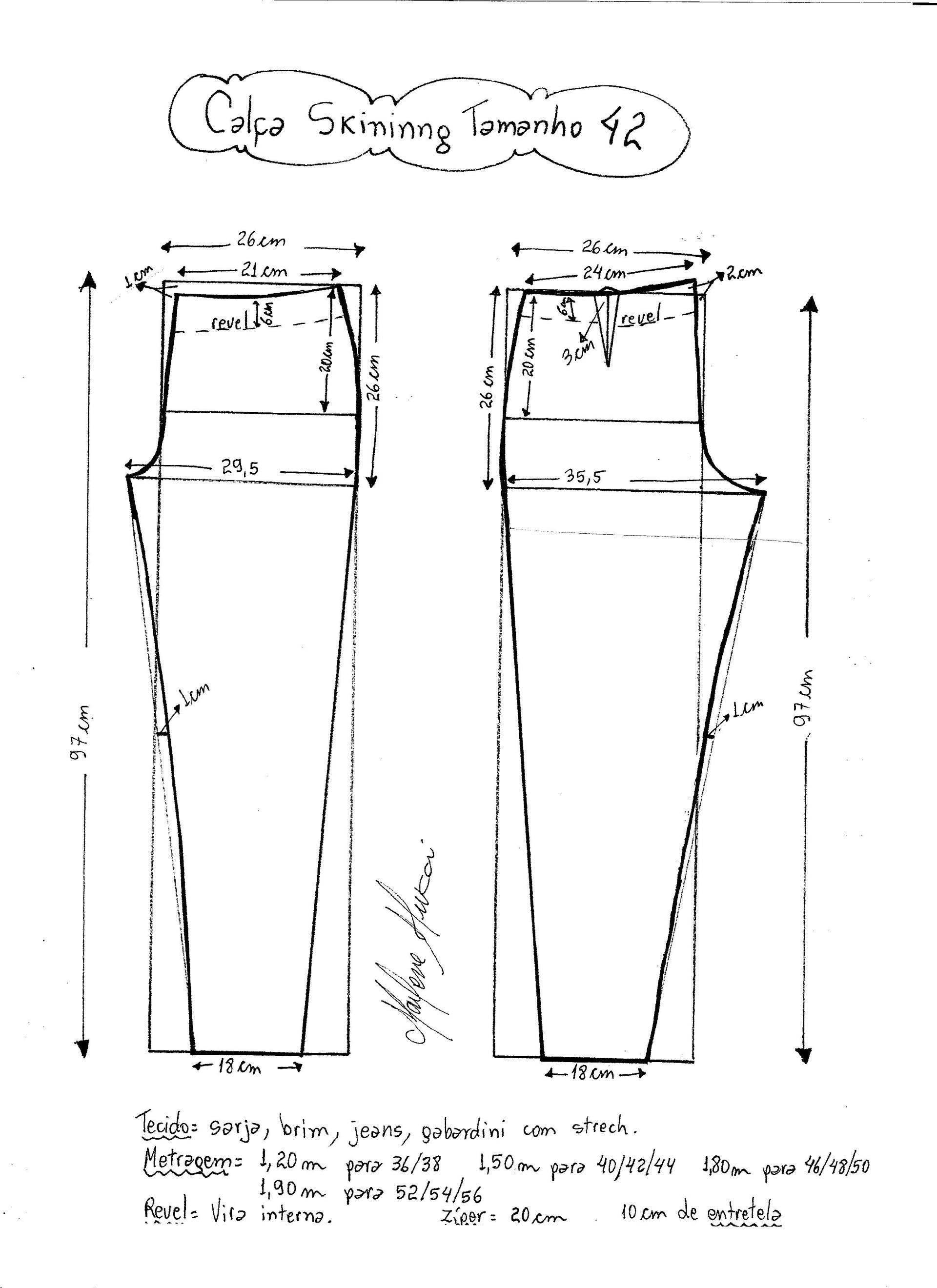 Patrón de pantalones ajustados | Moldes 42 - 44 / M | Pinterest ...