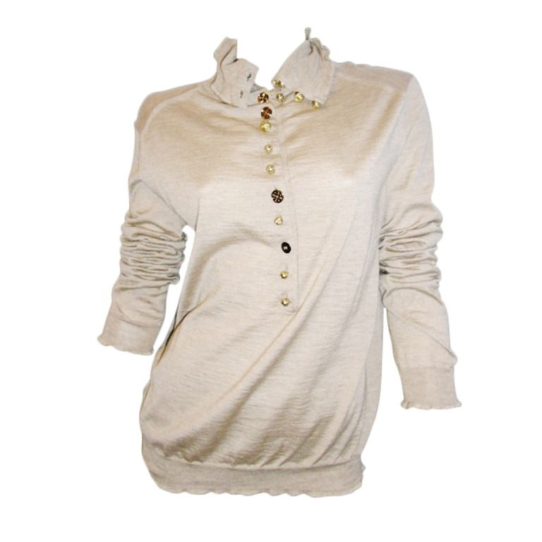 1stdibs.com | Louis Vuitton Tan sweater with monogram buttons