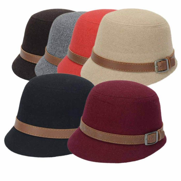 b523db28a0cfc Womens Hats Fashion Beach Belt Buckle Felt Caps Peppers Belt Buckle Bowler  Hat