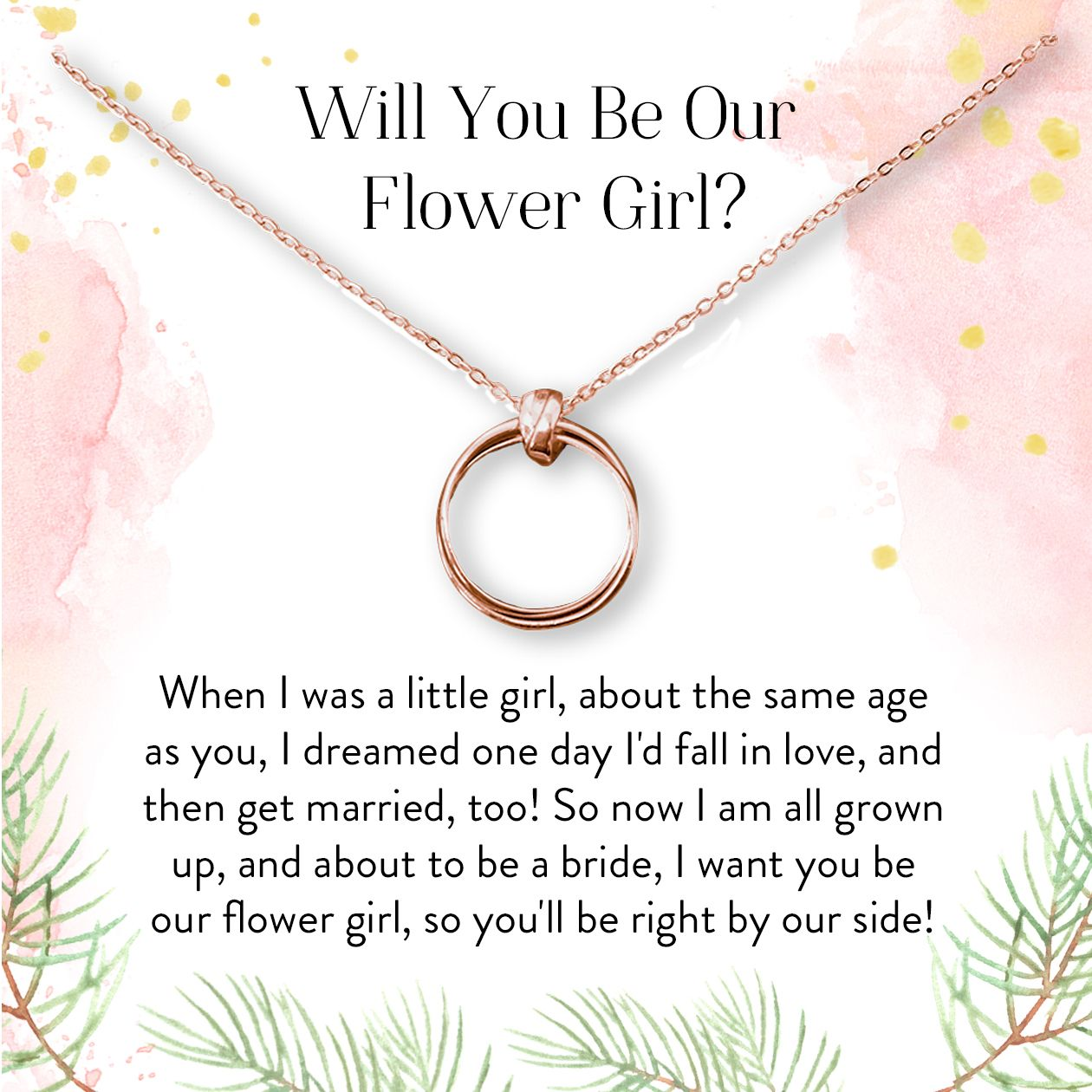 Thank You Gift 2 Linked Circles Dear Ava Flower Girl Gift Necklace: Bridal Party Gift Wedding Party Gift