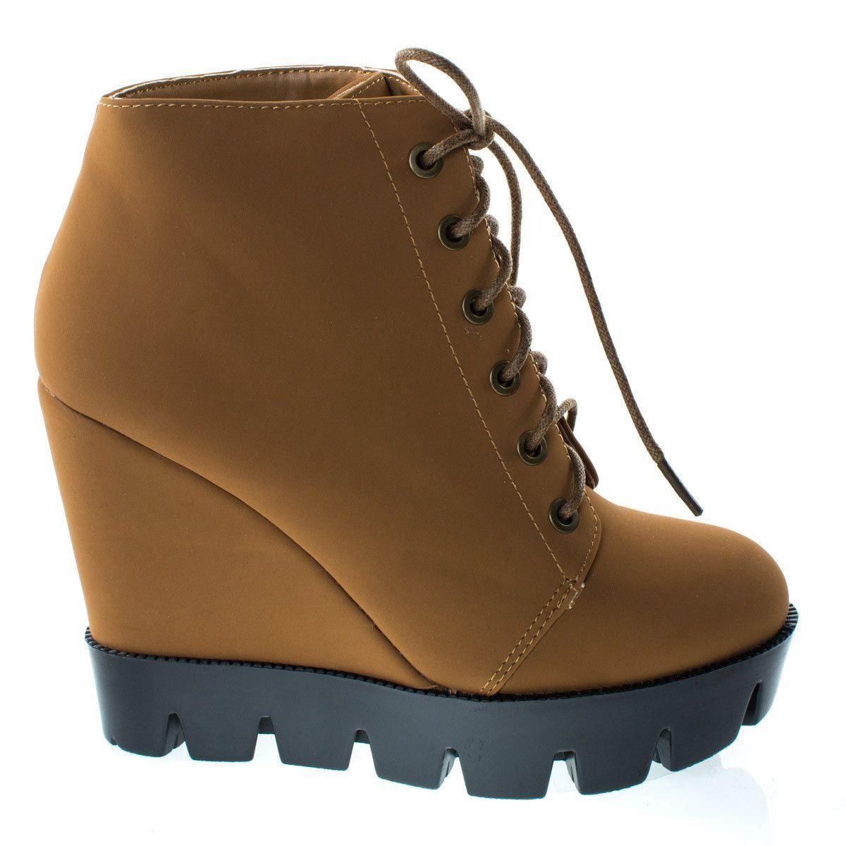 1827285042c  Tense10 Chetnut Women Faux Fur Lining Combat Ankle Boots