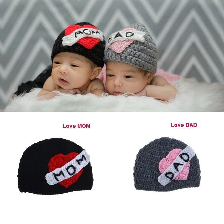 twinssss I love Mom Dad Knitted cap | Products | Pinterest