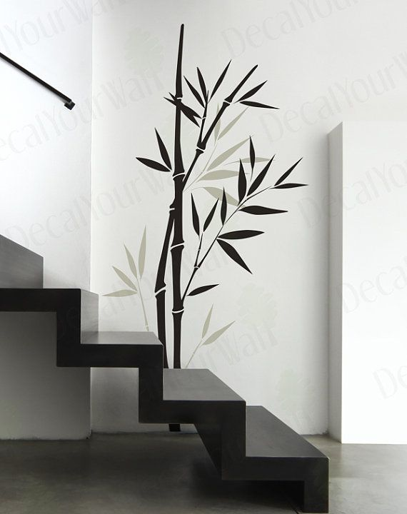 Bambou wall sticker chambre salon p pini re art vinyle stickers arbre branche - Grande decoration murale ...