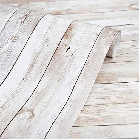 Amazon Com Abyssaly Wood Wallpaper 17 71 X 118 Self Adhesive Removable Wood Peel And Stick Wallpape Wood Wallpaper White Wood Wallpaper Wood Plank Wallpaper