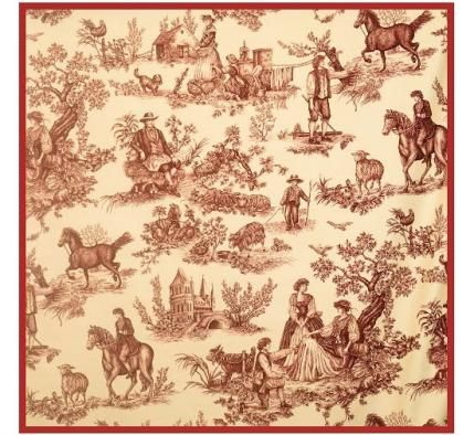 Charles Faudree favorite  breed, the Cavalier King Charles Spanie, ls featured in his Cavalier Toile Red on Ecru fabric for Vervain.
