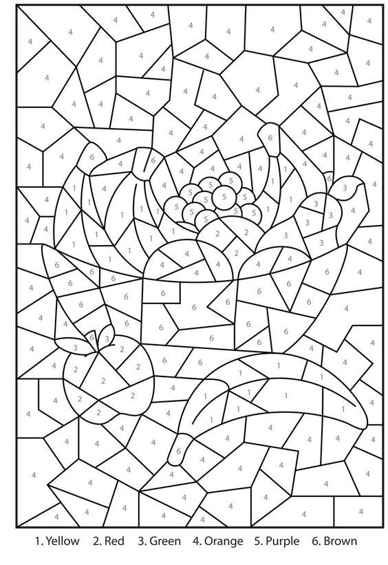 free printable bowl of fruit colour by numbers activity for kids free printable color by number coloring pages for adults