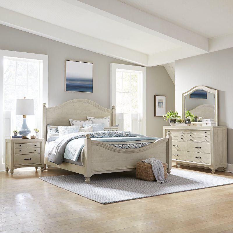 Best Rustic Antique White 4 Piece Queen Bedroom Set Catawba 400 x 300