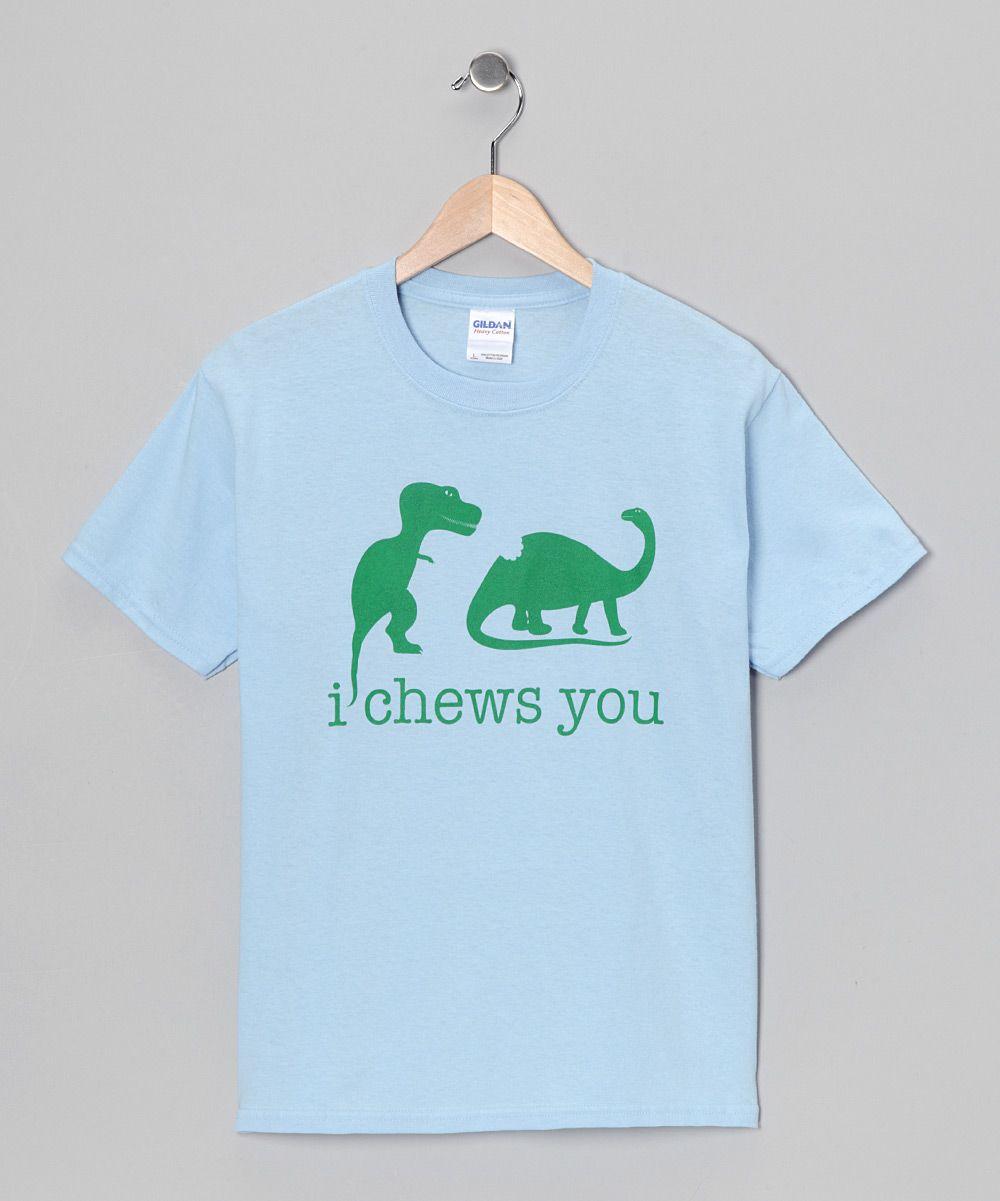 Light Blue T Rex I Chews You Tee Toddler Kids