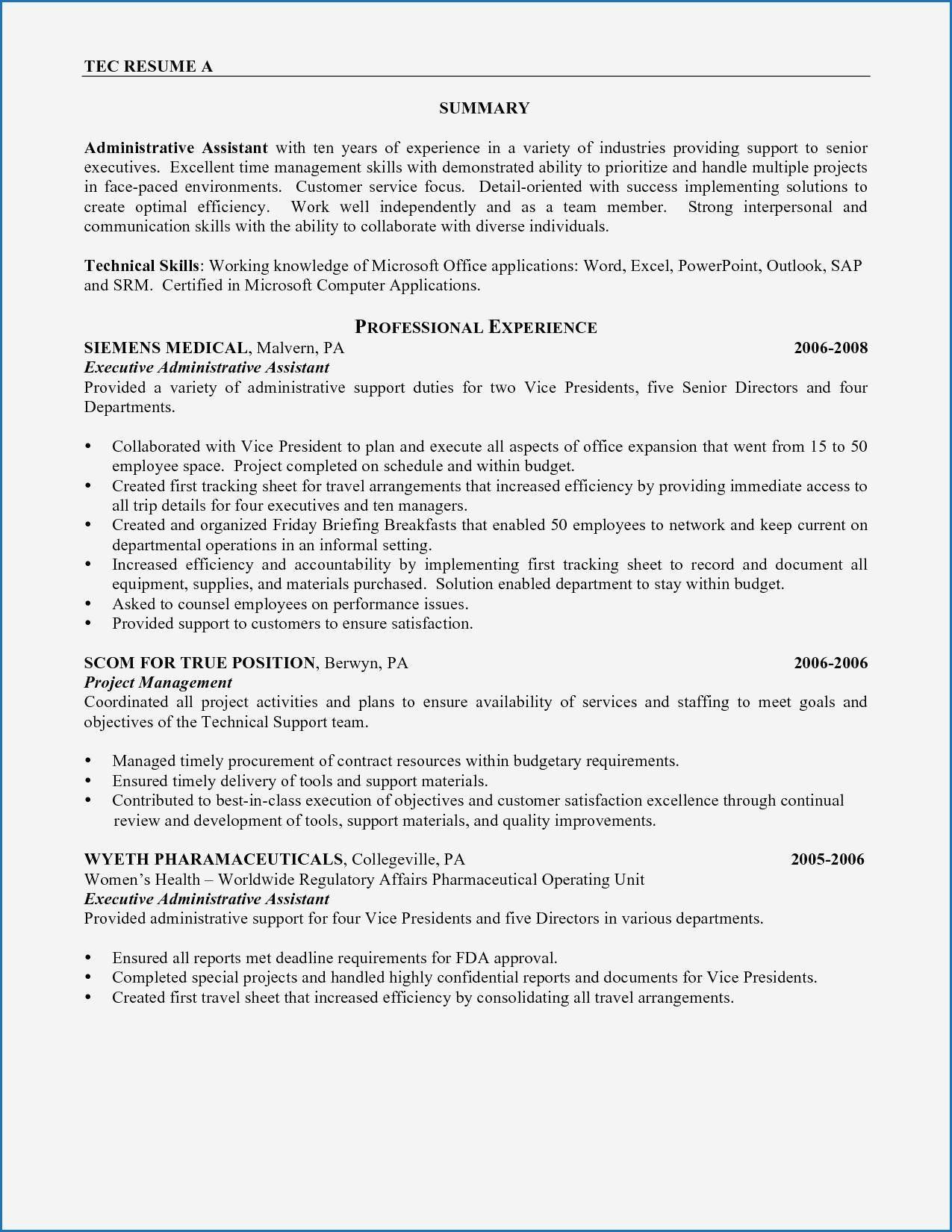 Medical Administrative Assistant Resume Sample Fresh Resume Template Admin Assistant Exam Resume Skills Resume Summary Examples Administrative Assistant Resume Example of smart objectives admin staff