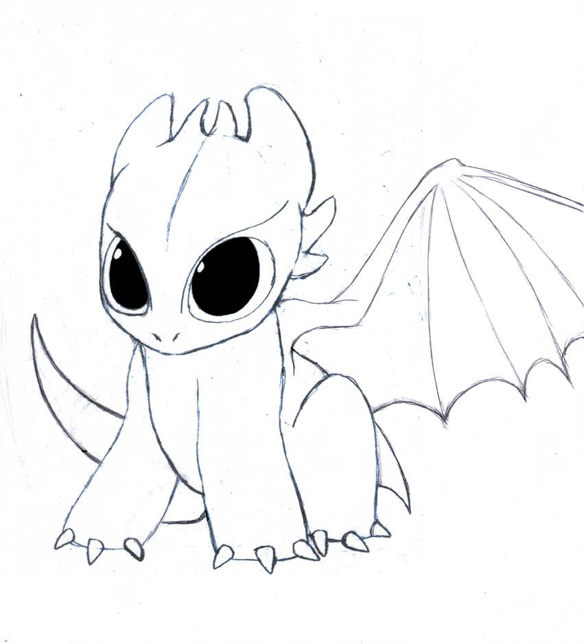 Tis A Tiny Toothless As The Title Describes There Really Isn T Much To Say About This Other Tha Easy Dragon Drawings Dragon Coloring Pages Cute Dragon Drawing