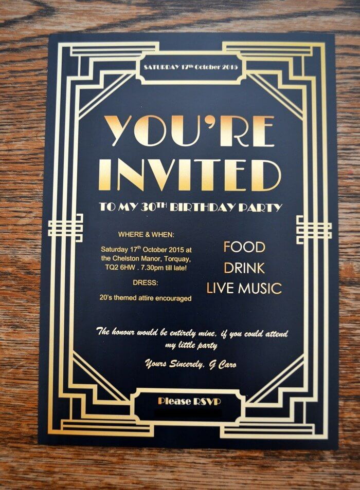 roaring 20 u0026 39 s party invites