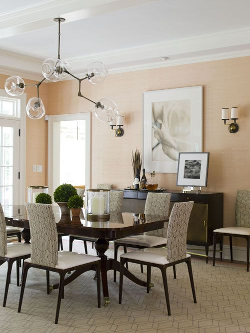 Pink walls in dining room