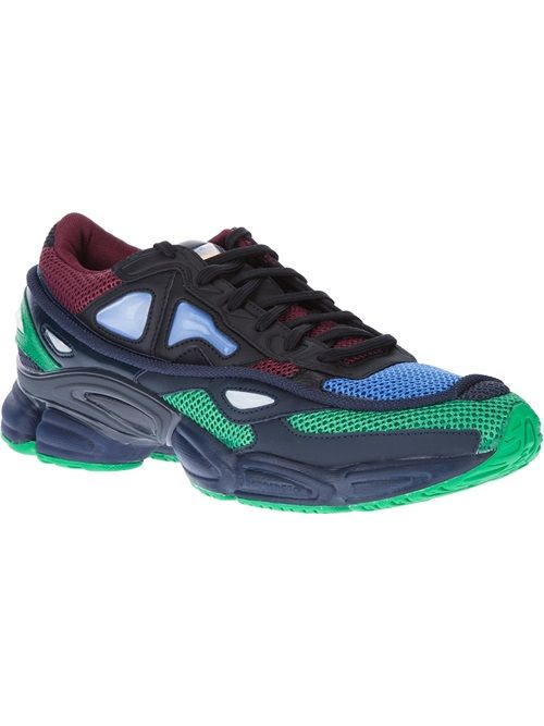 Adidas By Raf Simons 'Ozweego' Sneaker - multi-coloured 'ozweego' sneaker from raf simons adidas featuring a round toe, a lace fastening, a platform sole, mesh detailing, contrast panelling and branding to the tongue and heel. this item is true to fit.