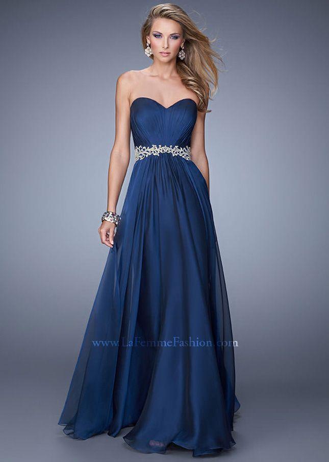 La femme blue strapless dress