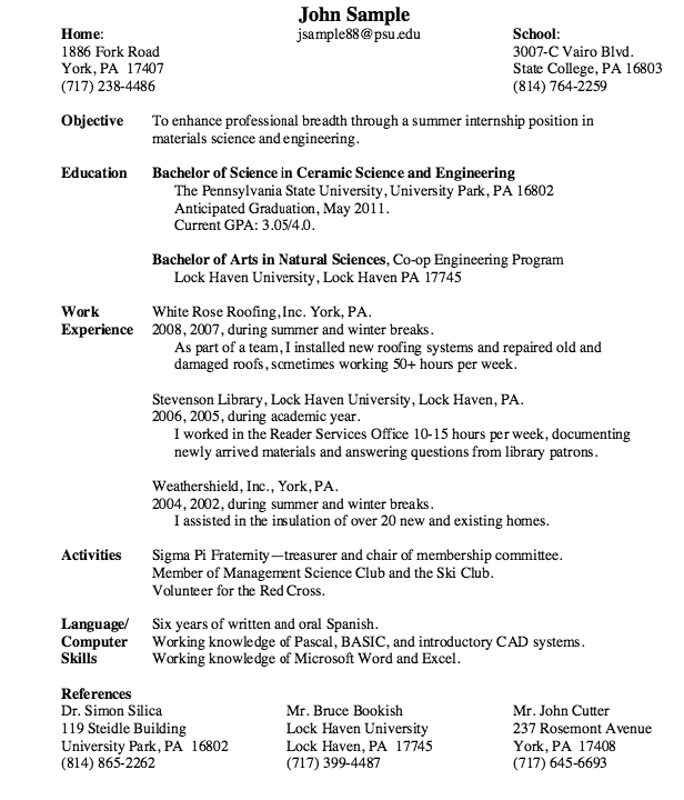 Internship Objective Resume Materials Science & Engineering Resume Seeking Internships