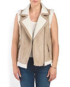 Faux Sherling Vest With Zip