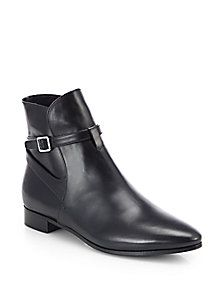 Prada - Leather Buckle Moto Ankle Boots