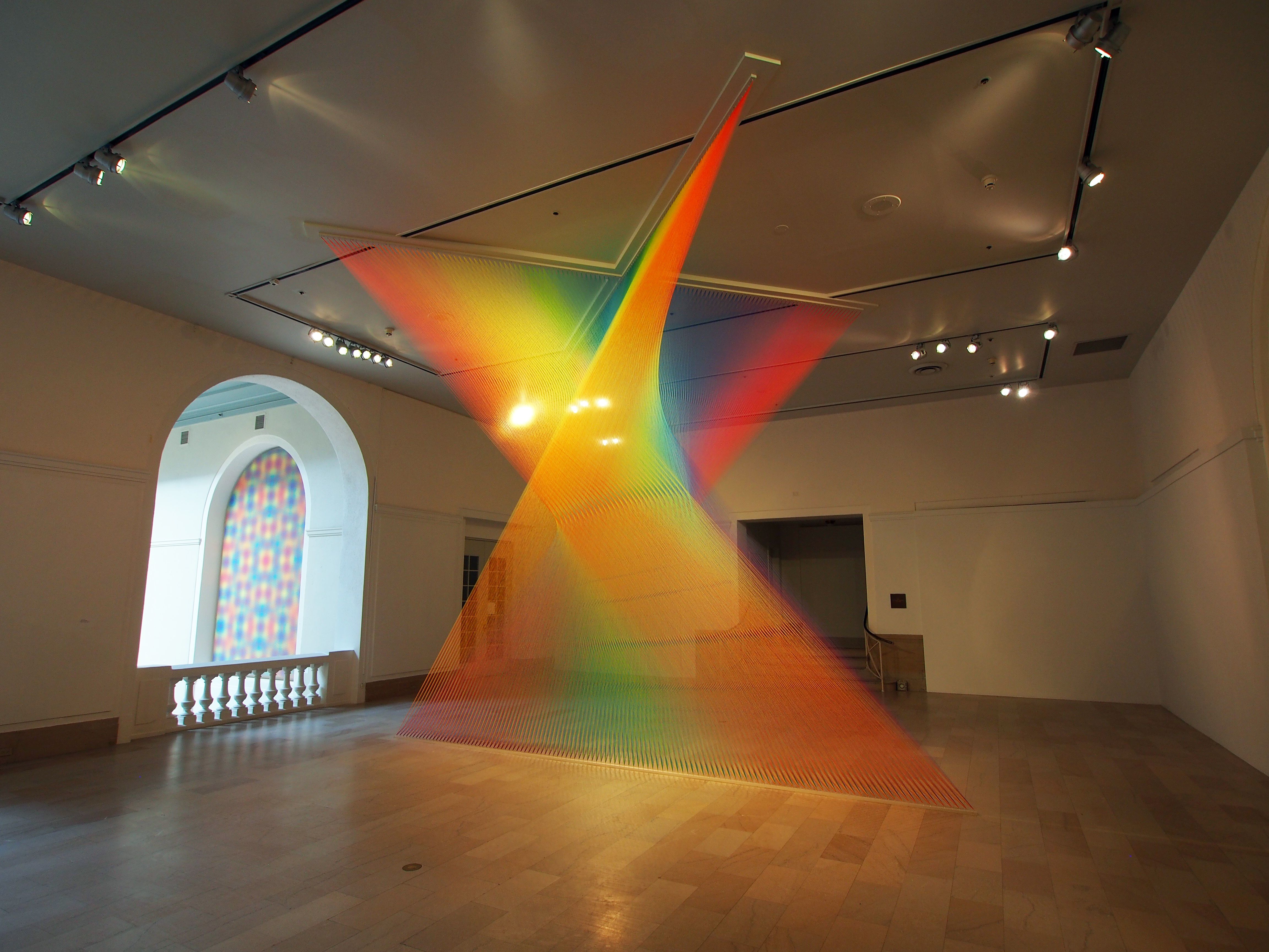 Miles of Thread and a Giant Needle Weave Indoor Rainbows | Gabriel ... for Light Installation Art Indoor  45gtk