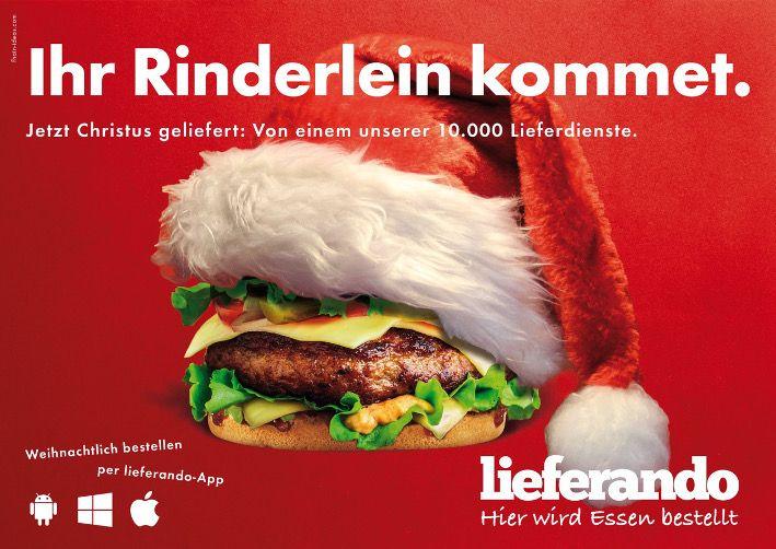 Lieferando Plakat Ihr Rinderlein Kommet