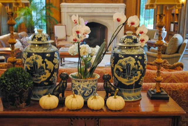 October 2013 -The Enchanted Home -  Fall vignette with orchids and white mini pumpkins