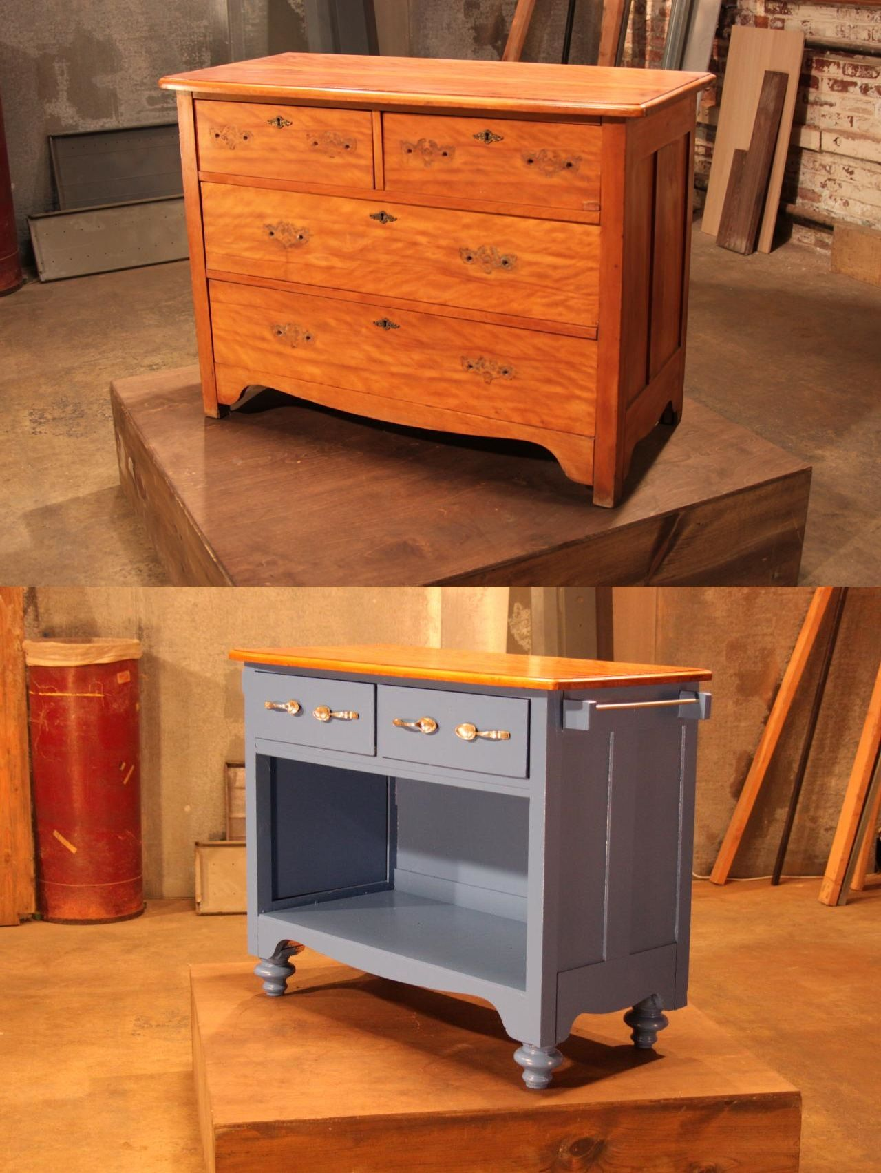 Repurposed Antique Dresser As A Kitchen Island With A: Dresser Repurposed As Kitchen Island.