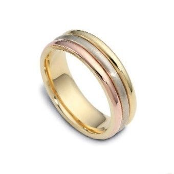Mens 14k Three Tri Tone Gold Wedding Ring Man Band 6mm