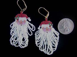 Beaded Santa Face with looped beard fringed Earrings - Sunshine ...