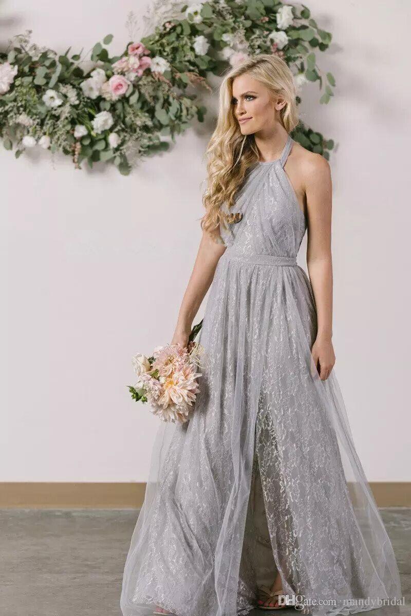 2018 Fairy Lace Bridesmaid Dresses Light Gray Side Split