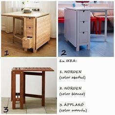Mesas plegables o abatibles para la cocina tiny - Mesa plegable con sillas dentro ikea ...