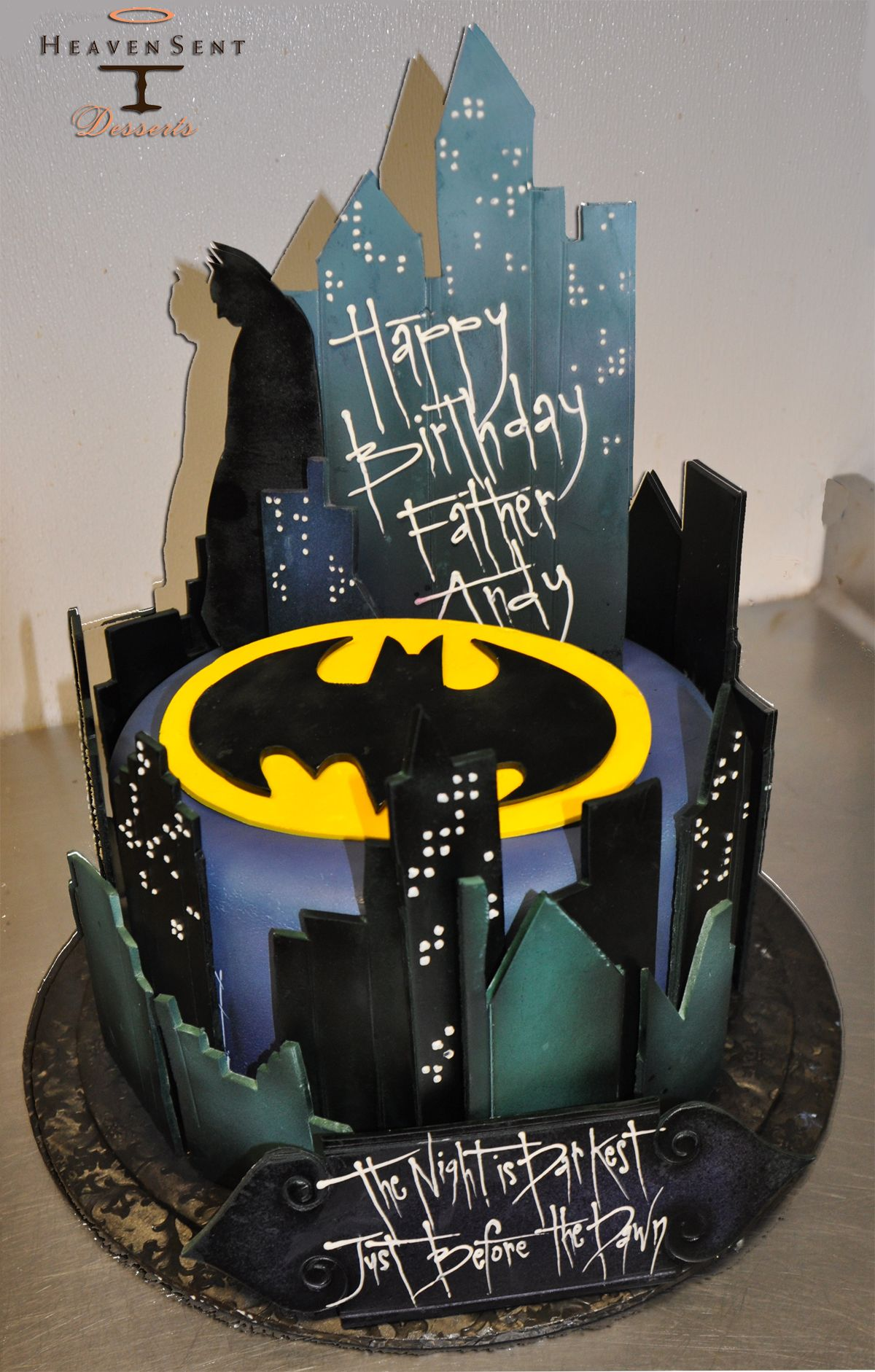 Batman Cake Add bats on wires Creative Cakes