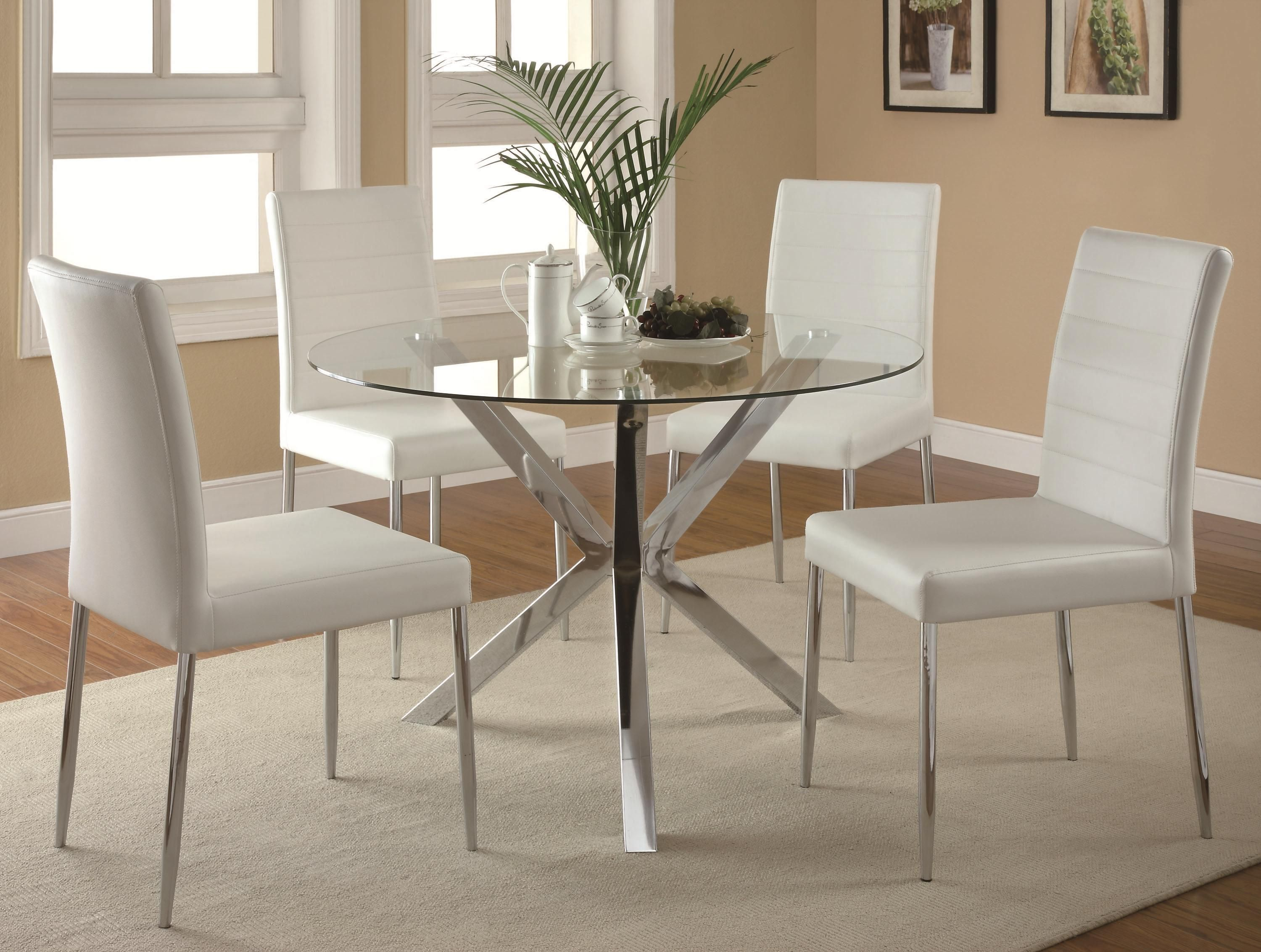 Vance Contemporary 5 Piece Glass Top Table And Chair Set By