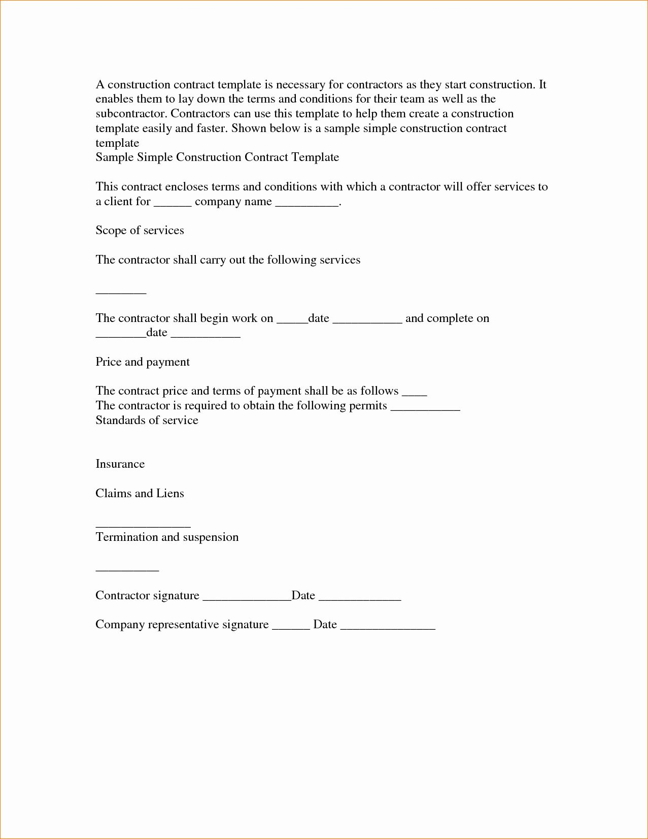 Simple Contract For Services Template Elegant Basic Service Contract Mughals Contract Template Construction Contract Startup Business Plan Template Simple contract for services template