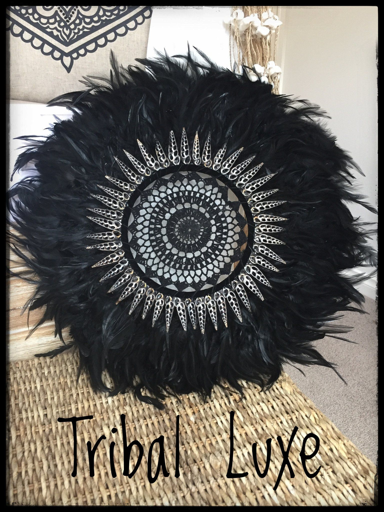 Black Tribal Feather Crochet Juju Hat Wall Hanging Tropical