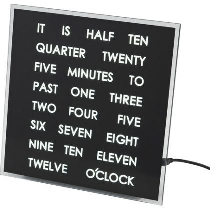 Black Light Up Word Clock At Homebase Be Inspired And