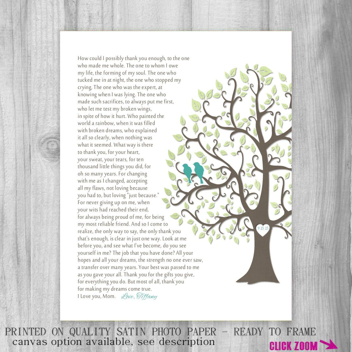 Gift For Mom From Daughter How Can I Thank You Poem Wedding Day Mother Keepsake Print