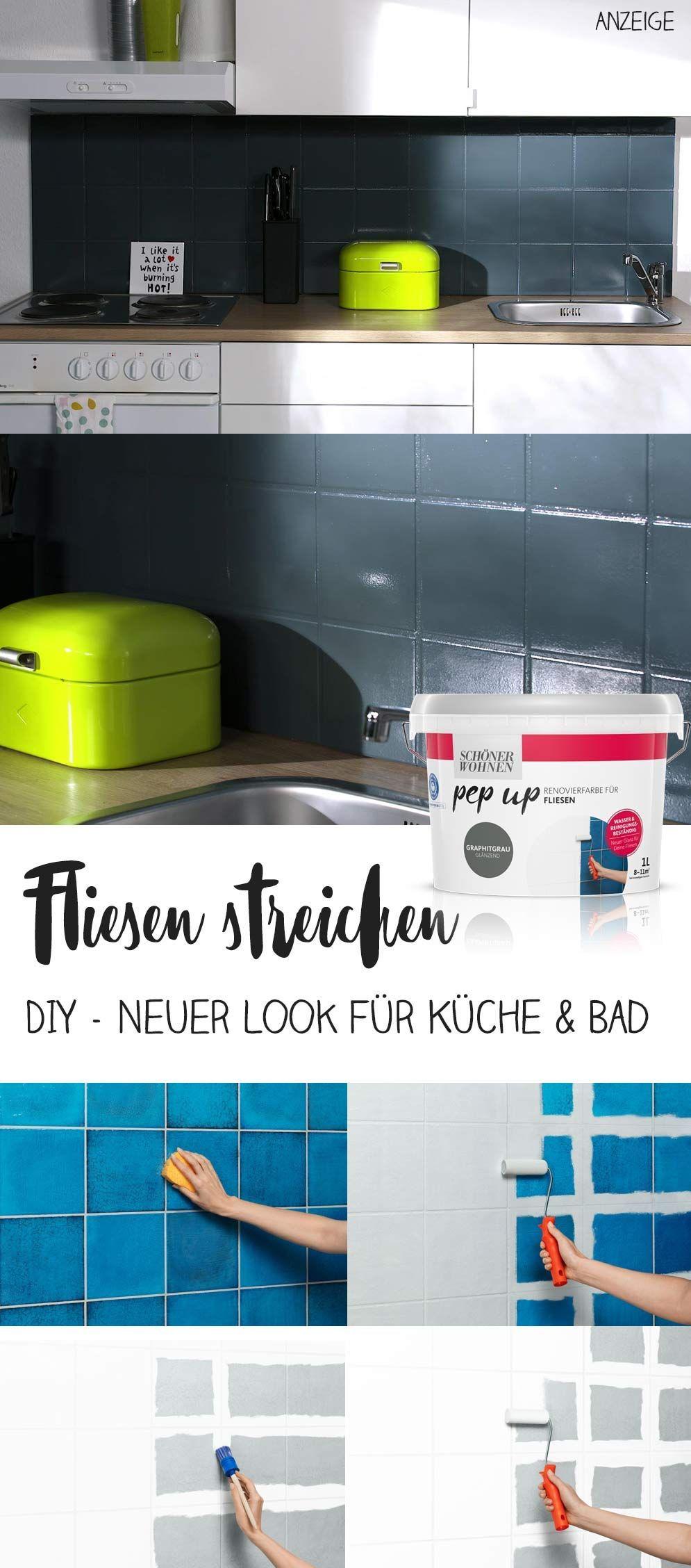 Werbung Diy Fliesen Selber Streichen Einfache Schritt Fur Schritt Anleitung Wasser Reinigungsbestandige Farbe Fur Kuch Fliesen Diy Fliesen Renovieren