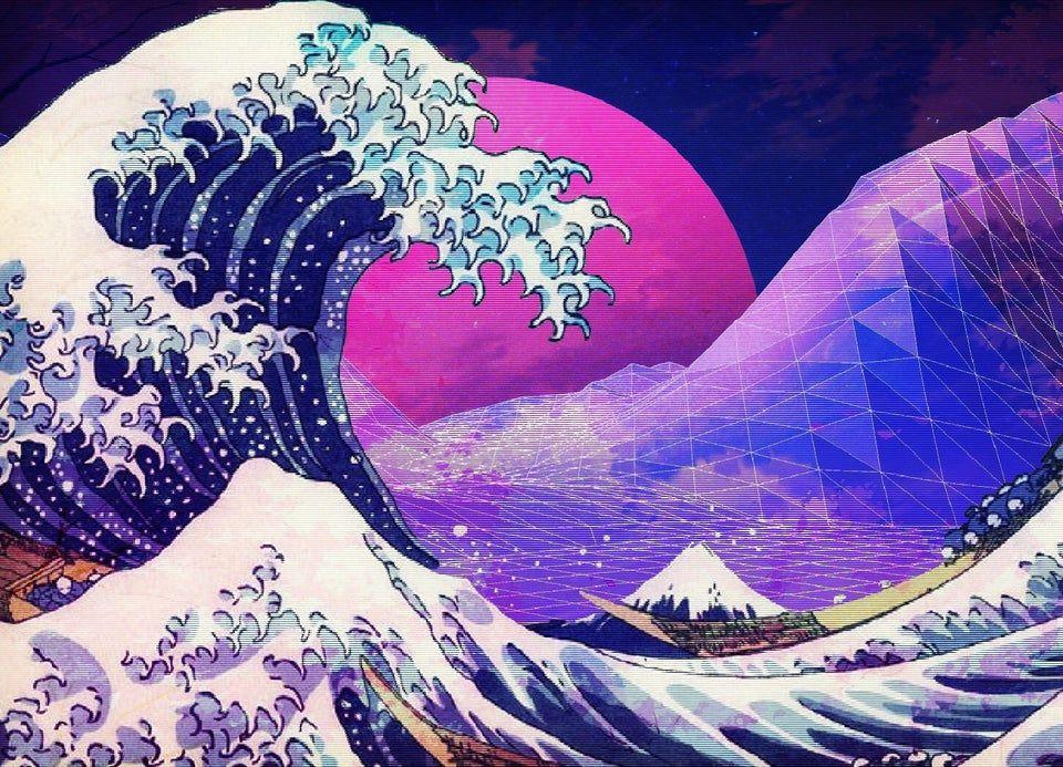 Hokusai vaporwave : VaporwaveAesthetics   Seni, Ilustrasi ...