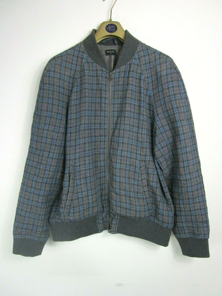 25df3a8a8 Vintage Paul Smith Men's Pure Linen Blue Check Harrington / Bomber ...