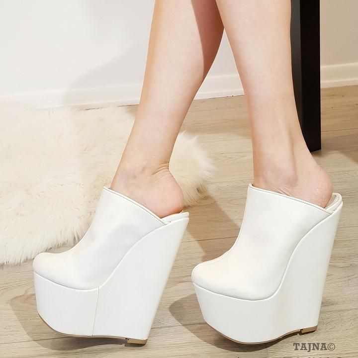 c818bbb96c White Faux Leather Sabo 17 cm Heel Wedge Mules in 2019 | Wedges ...